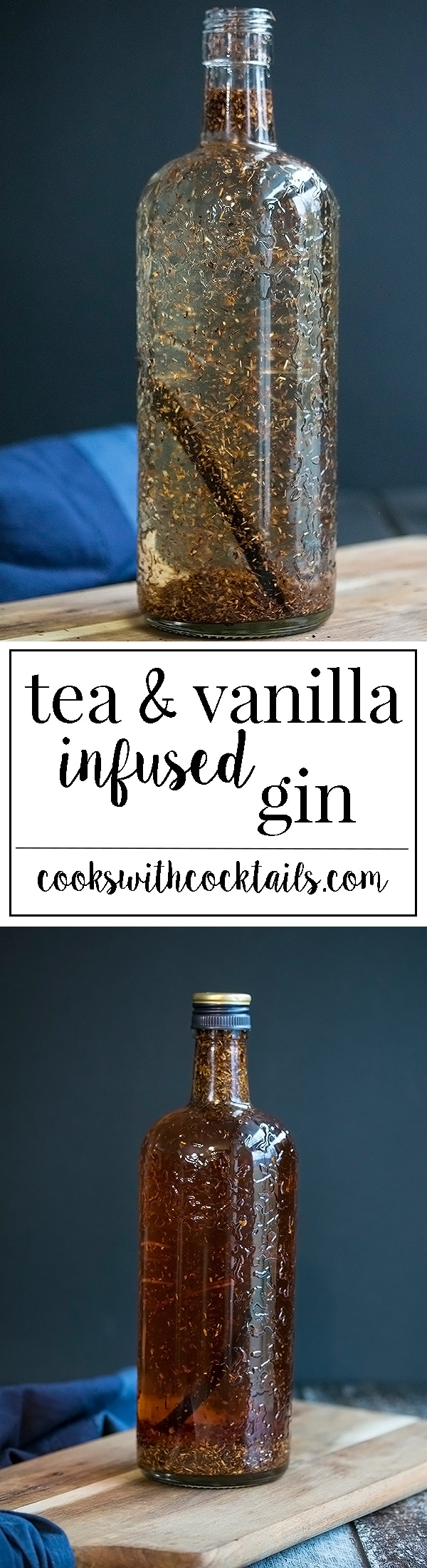 Tea infused gin with vanilla is a natural pairing to gin with its already floral notes.  This infused gin is great for hard ice teas, martinis, gin sours and many others cocktails.