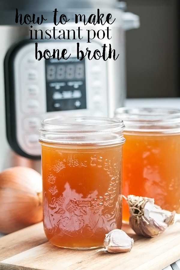 Instant pot bone broth is a total game changer if you love to make your own bone broth for soups and other things.  It's so easy, nutritious, gelatinous and done in record time. #cookswithcocktails #bonebrothrecipe #instantpotrecipe