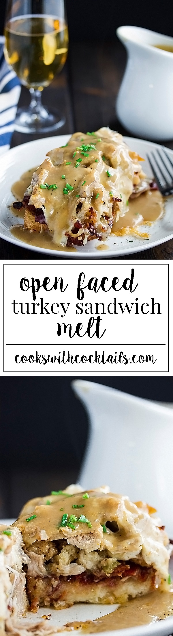 Open faced turkey sandwich melt with sweet cranberry sauce, bacon, turkey stuffing, and left over turkey all under a thick slice of melted cheese and smothered in turkey gravy. It's like a turkey dinner in every bite! #turkeysandwich #sandwich #cheesemelt
