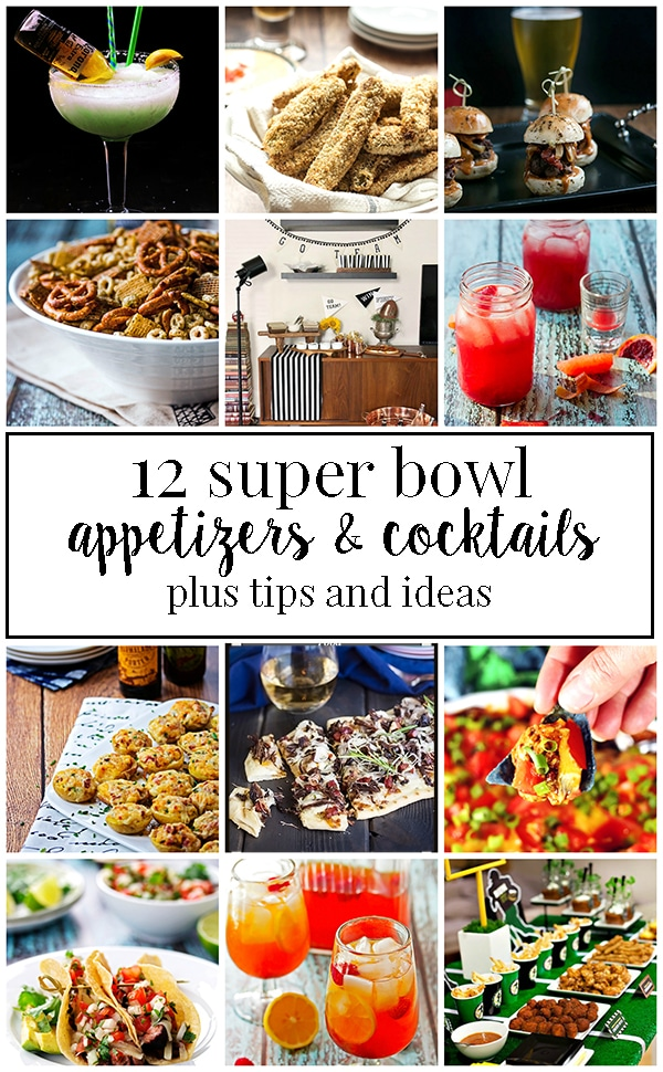 Super bowl party appetizer recipes and cocktail recipes to help you plan your party menu for the game!  We've also included tips and ideas to help make your party easier!   #cookswithcocktails #superbowlparty #superbowlfood #superbowlpartyfood #gamedayfood