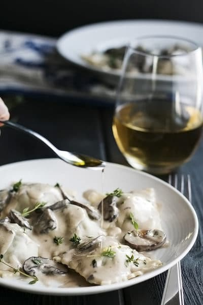 Short Rib Ravioli with Creamy Truffle Mushroom Sauce ~ With Instant Pot Short Ribs