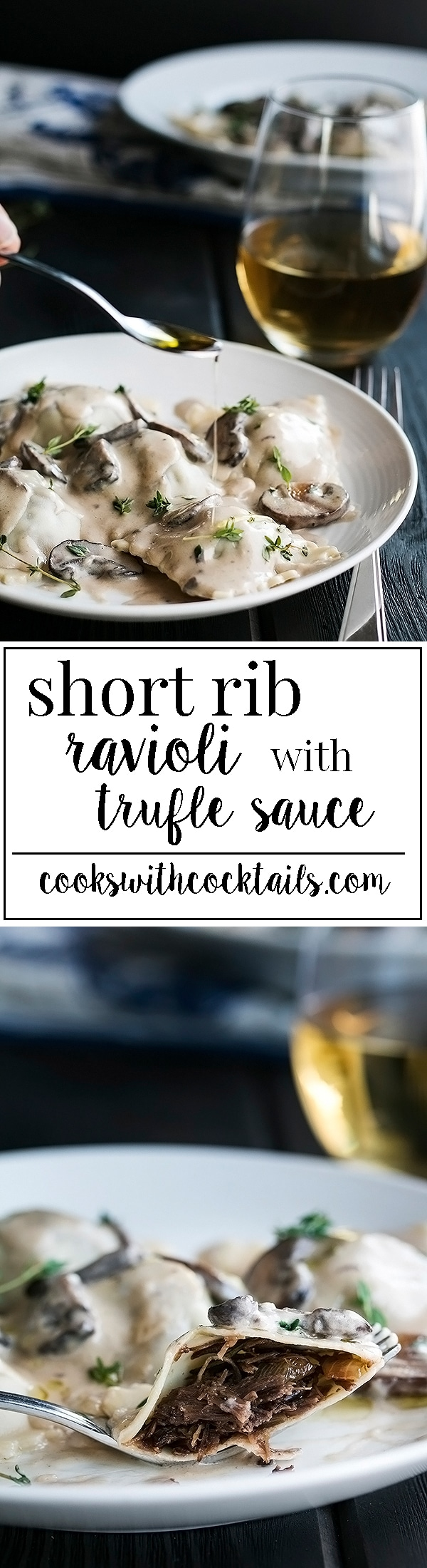 Homemade Short Rib Ravioli - A labour of love, well worth the time to make, and not as hard as you think!  The filling is easy, made with instant pot short ribs and caramelized onions that gets stuffed into tender homemade pasta pockets and covered in the most delectable sauce!#instantpot #shortribs #homemadepasta #homemaderavioli #truffle #mushroomsauce