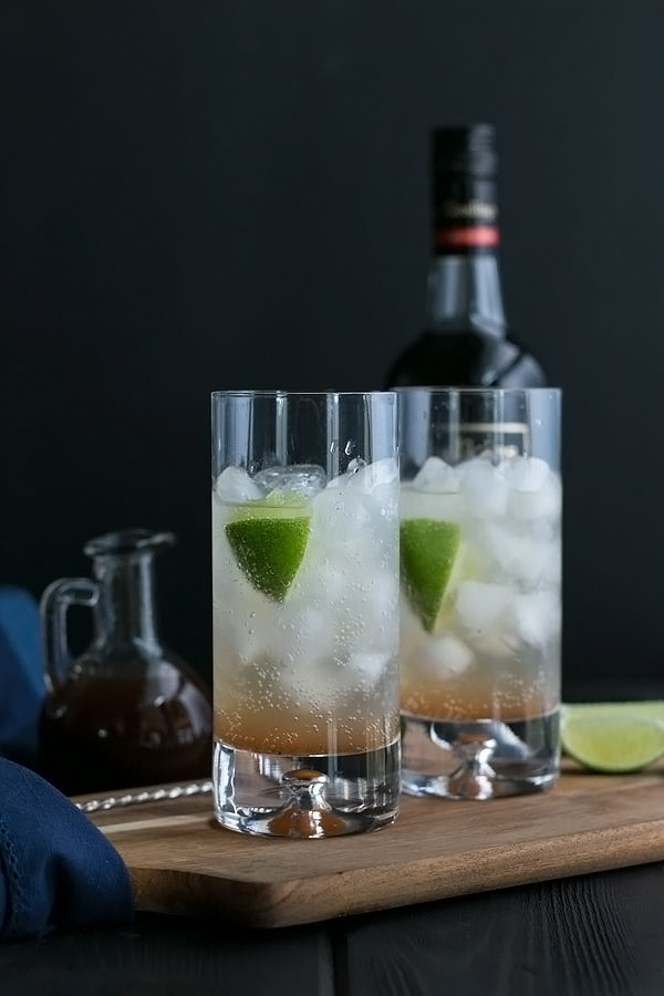two layers of the dark and stormy - the ginger beer and the spiced syrup