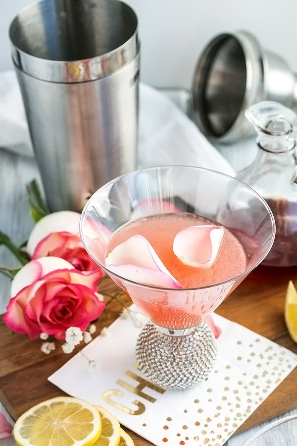 rose petals floating on the rose lemon drop martini