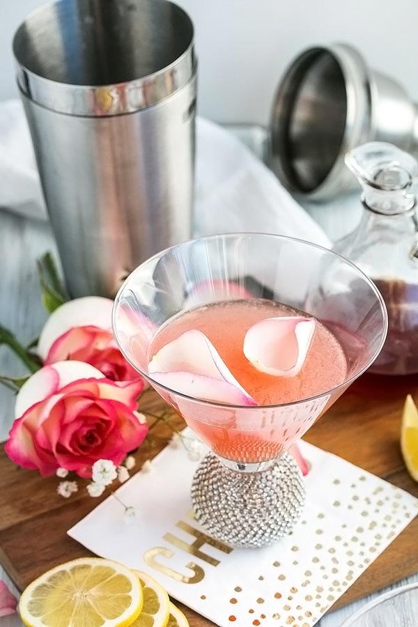 rose petals floating on the rose lemon drop martini