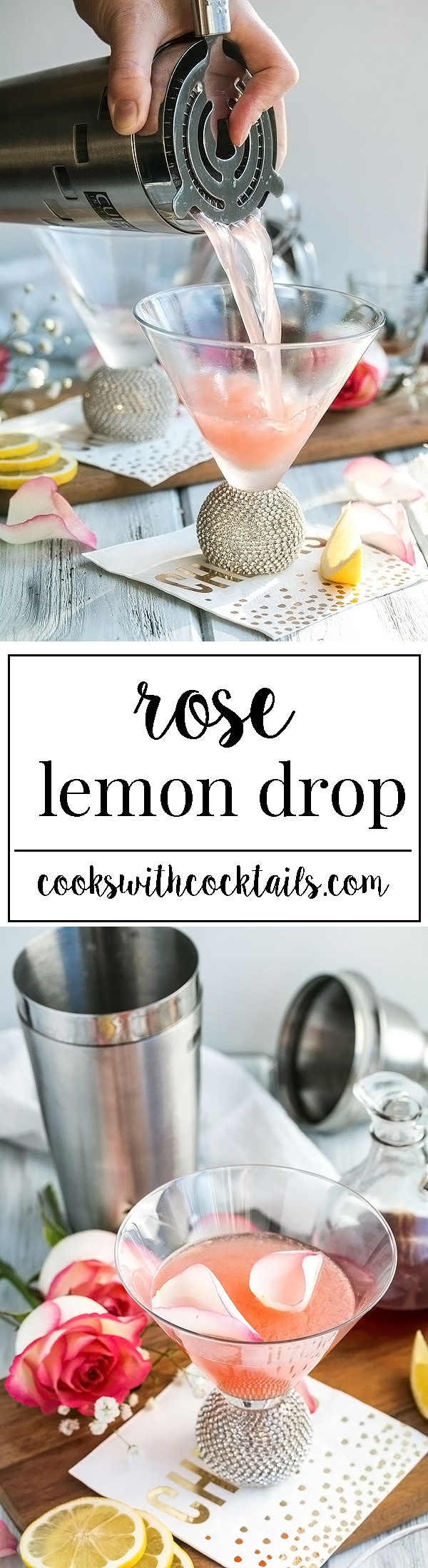Even better than the classic cocktail.  The perfect lemon drop martini infused with homemade rose simple syrup. Its tart, sweet, floral, and an easy cocktail to make and drink a lot of! #cookswithcocktails #lemondrop #martinirecipe #pinkcocktails #lemonmartini #cocktailrecipe