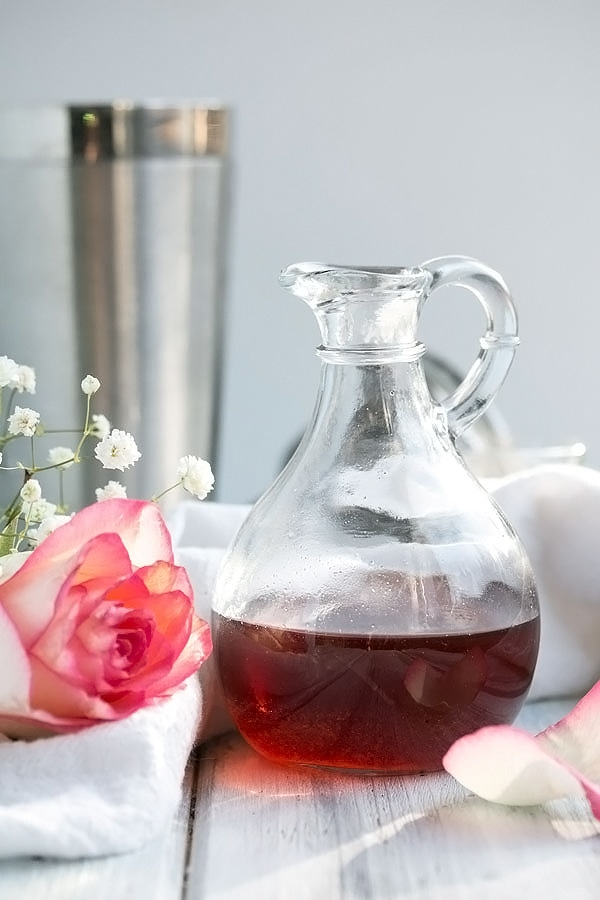 Rose Syrup in a glass container