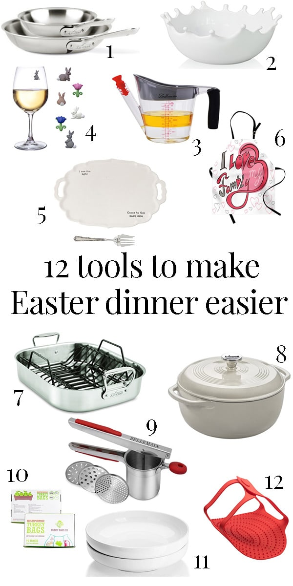 list of 12 kitchen tools for making easter dinner