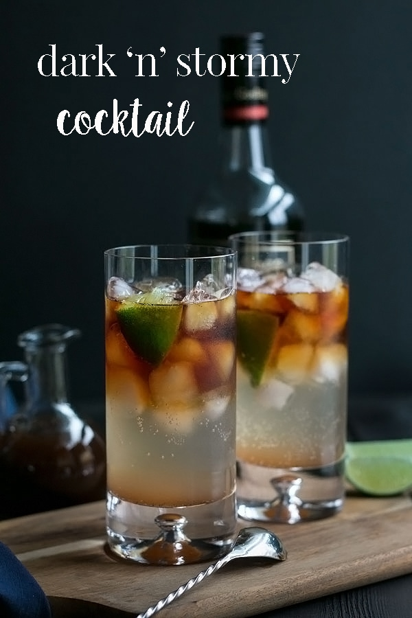 This is a classic dark and stormy cocktail with a delicious Cooks with Cocktails twist.  Its a great rum drink for a day when you need a refreshing cocktail or when your making cocktails for a crowd. #cookswithcocktails #darkandstormy #rumcocktail #cocktailrecipe #rumdrinks
