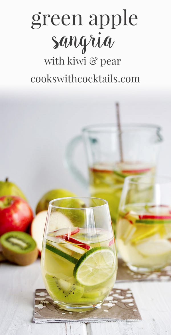 This green apple sangria is made a little green with kiwi, and pear. It's the perfect St Patrick's Day drink because of the color and also because it just tastes so damn good! A great fruity spring cocktail recipe! #cookswithcocktails #sangriarecipe #greenapplesangria #stpatricksdaydrink