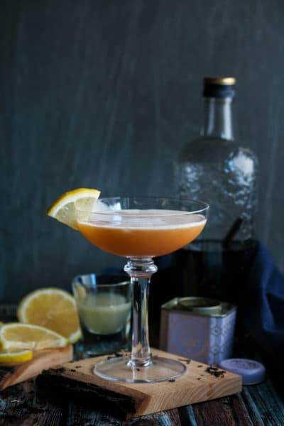 Gin Sour with Vanilla and Tea Infused Gin