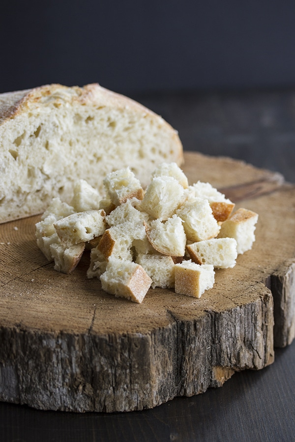 cubed bread for homemade croutons