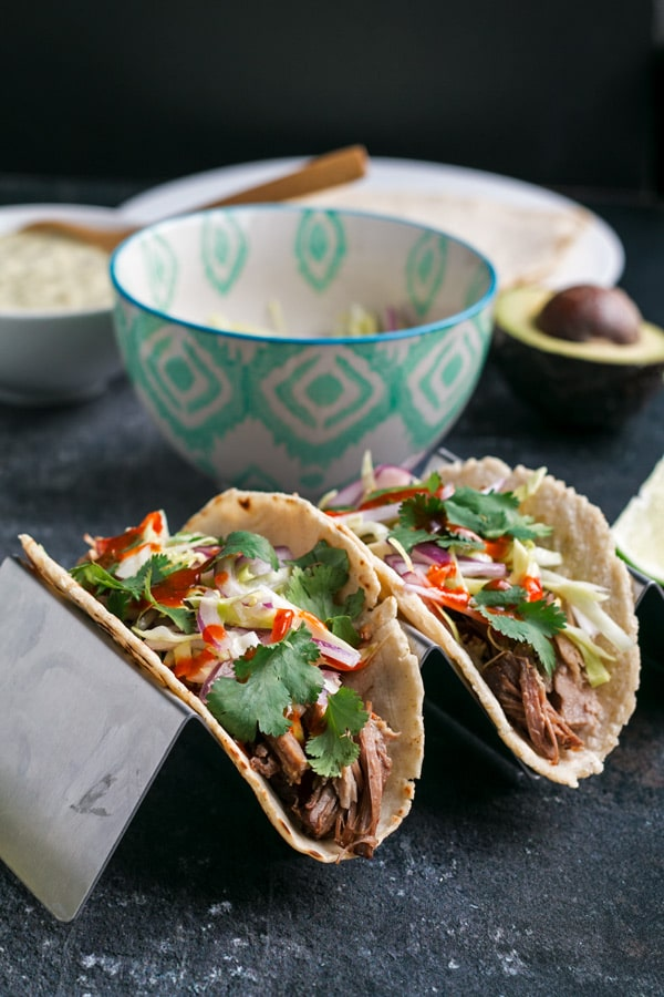 Pulled Pork tacos with Creamy Salsa Verde