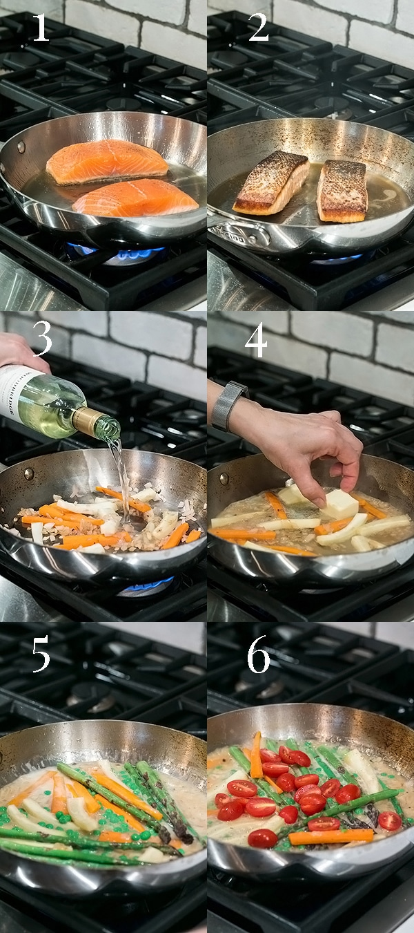 step by step photos showing how to make pan fried salmon