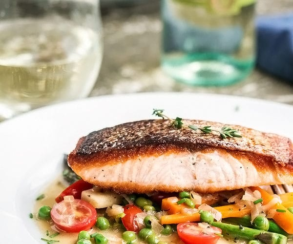 Perfect Pan Fried Salmon with Spring Vegetables & a Simple White Wine Sauce