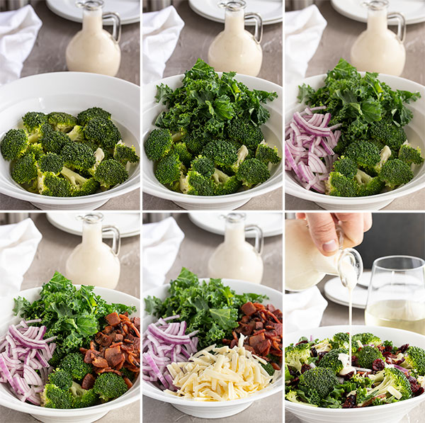 pictures showing step by step instructions on how to make broccoli salad