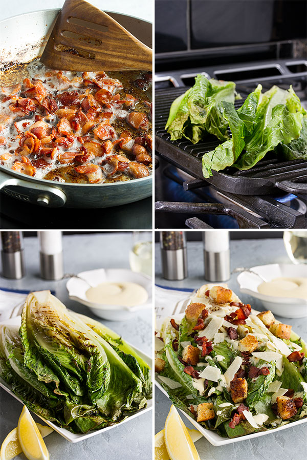 process shots showing how to make a grilled caesar salad