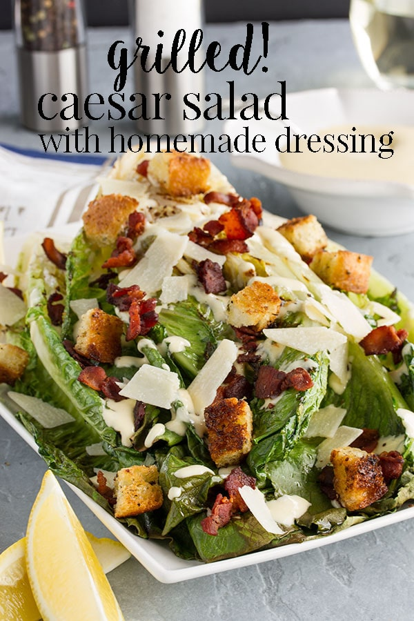This delicious grilled caesar salad is a fun and classy way to serve a caesar salad to guests and especially great for a backyard BBQ with your family and friends. It's delicious with some little charred bits and the homemade caesar dressing is so easy and good. You will never buy caesar dressing at the store again! #cookswithcocktails #caesarsalad #bbqsalad #caesardressing
