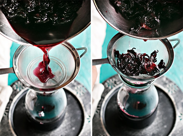 straining the hibiscus syrup