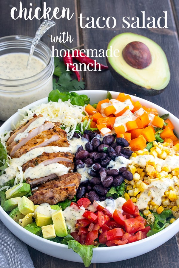 This taco salad recipe is our go to for summer salads. It's easy to make, full of fresh veggies and packs a big flavor punch. A quick and easy dinner recipe for summer family dinner. #cookswithcocktails #tacosalad #chickentacosalad #summersalad #chickensalad