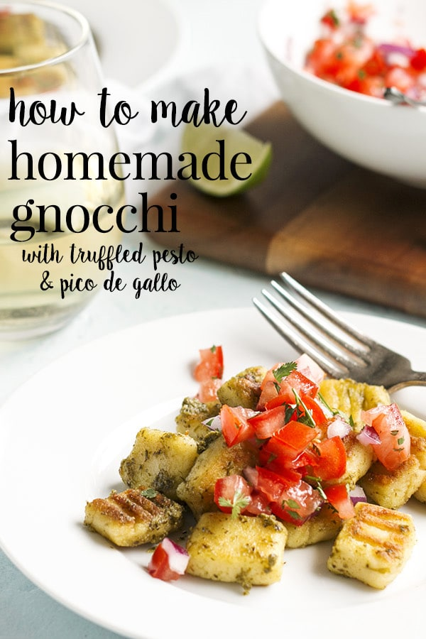 Gluten free gnocchi is easy and fun to make and tastes way better than store bought gnochi.  This homemade gnocchi recipe is pillowy soft and fluffy on the inside, pan fried to a golden crispy brown on the outside, tossed in truffled pesto and topped with fresh pico de gallo. Fabulous for lunch with the girls or an appetizer before dinner. #cookswithcocktails #glutenfreegnocchi #homemadegnocchi #gnocchi