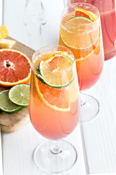 Planters Punch Cocktail ~ a Caribbean Rum Punch with Hibiscus Syrup & Sparkling Wine