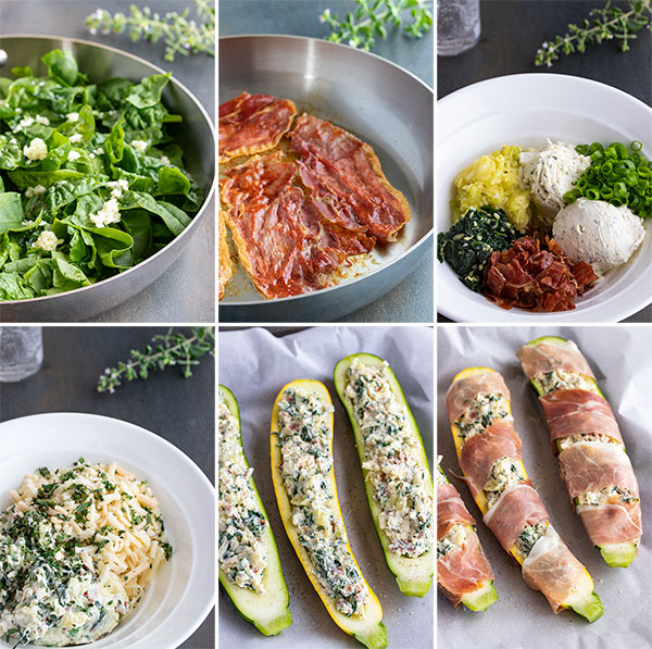 process shots showing how to make stuffed zucchini