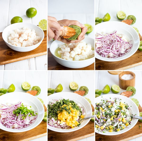 set of pictures showing how to make ceviche