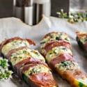 Cheesy Stuffed Zucchini Boats Wrapped in Prosciutto
