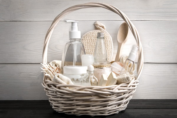 a basket of stocked bathroom toiletries for holiday entertaining