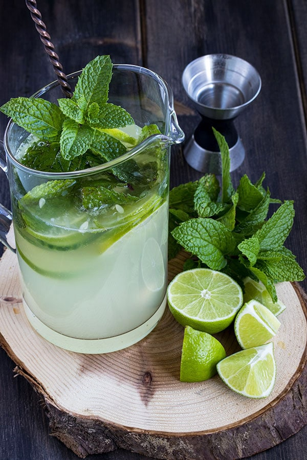 a pitcher of cucumber mojito mix