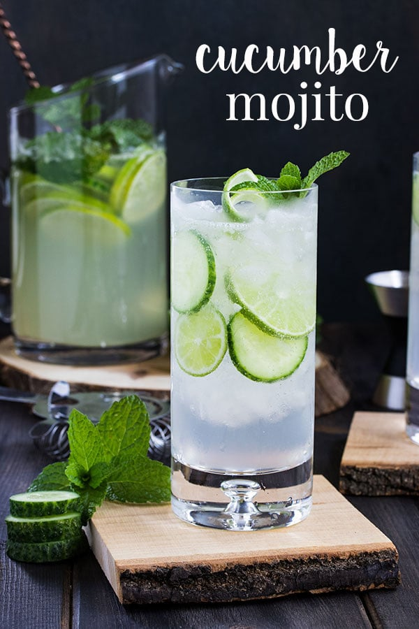 This cucumber mojito recipe is a refreshing twist on the classic mojito cocktail.  It's everything you love about a mojito with an extra hint of fresh.  See the post for a single cocktail recipe as well as a mojito pitcher recipe so its easy to make mojitos for a crowd. #cookswithcocktails #mojitorecipe #cucumbercocktail #rumcocktail #pitchercocktails
