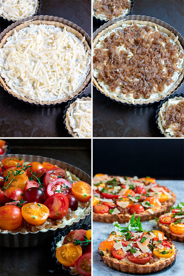 pictures showing how to make the cheese tart