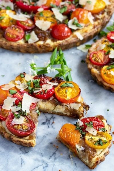 Cheese Tart with Tomatoes & a Herb and Cheddar Crust