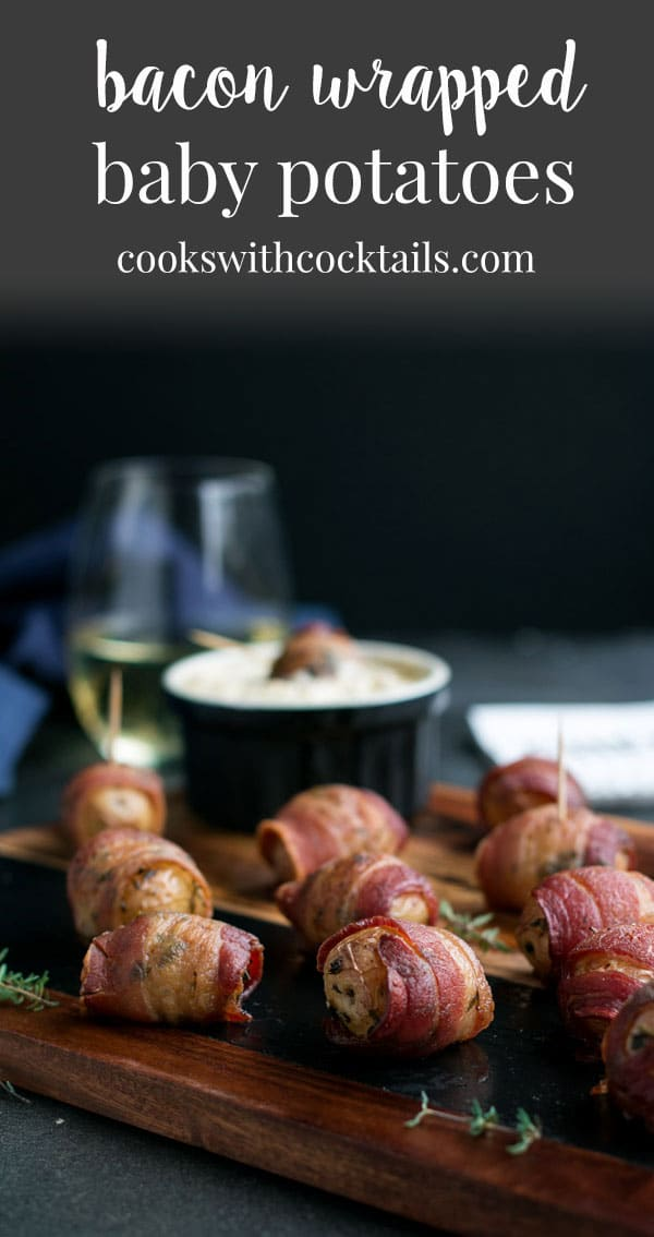 These bacon wrapped potatoes with a warm apple cream cheese dip are like the appetizer holy grail. They are bite sized yet filling, crispy on the outside but fluffy on the inside, delicious hot or cold and really easy to make! They're perfect party food from a backyard bbq to a fancy holiday appetizer spread. #cookswithcocktails #appetizer #bakedpotatoes #bacon #baconwrappedpotatoes #partyfood #holidayappetizer