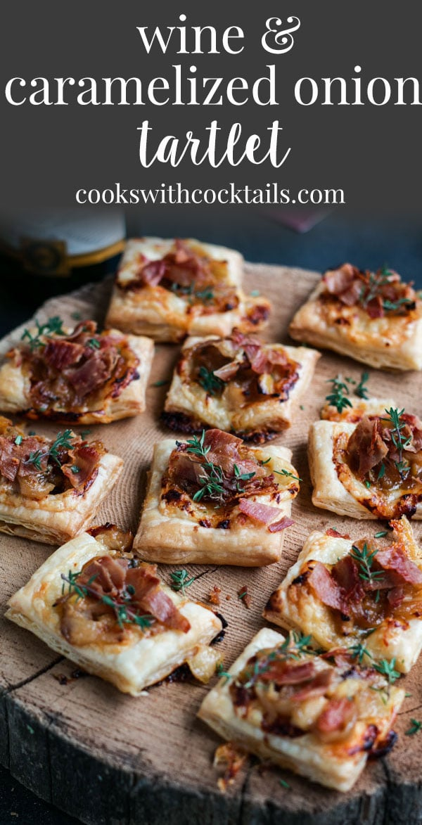 These puff pastry tartlets are so easy to make and the combo of wine, caramelized onions, roasted garlic, aged cheddar and prosciutto is insanely delicious! They are an easy holiday appetizer for holiday parties or any other party.  This puff pasty tart is great as a make ahead appetizer too and is great served at room temperature or hot so its a great potluck appetizer too! #cookswithcocktails #puffpastrytart #puffpastrytartlet #holidayappetizer #horsd'oeuvres #caramelizedonions