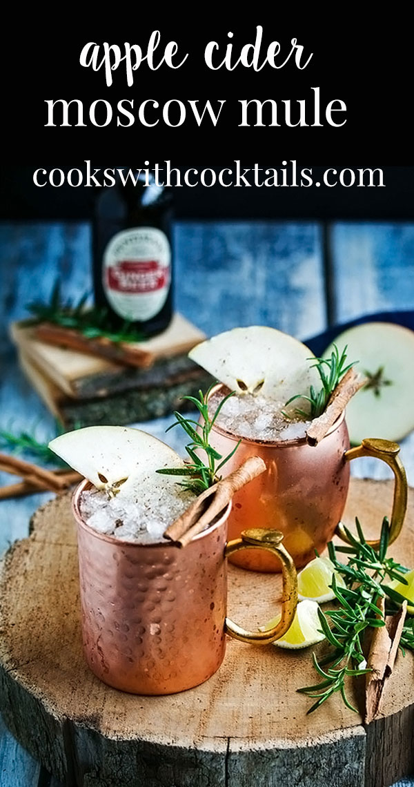 Spice up your holiday with this apple cider Moscow mule recipe. Also called a whisky mule or Kentucky Mule or an Irish Mule because its a Moscow mule made with whiskey. Perfect for sipping around a bonfire or for getting your holiday party guests into the spirit.With tips on how to serve this moscow mule for a crowd, moscow mule mugs, #cookswithcocktails #moscowmule #whiskeymule #holidaycocktail #applecidercocktail #gingerbeercocktail