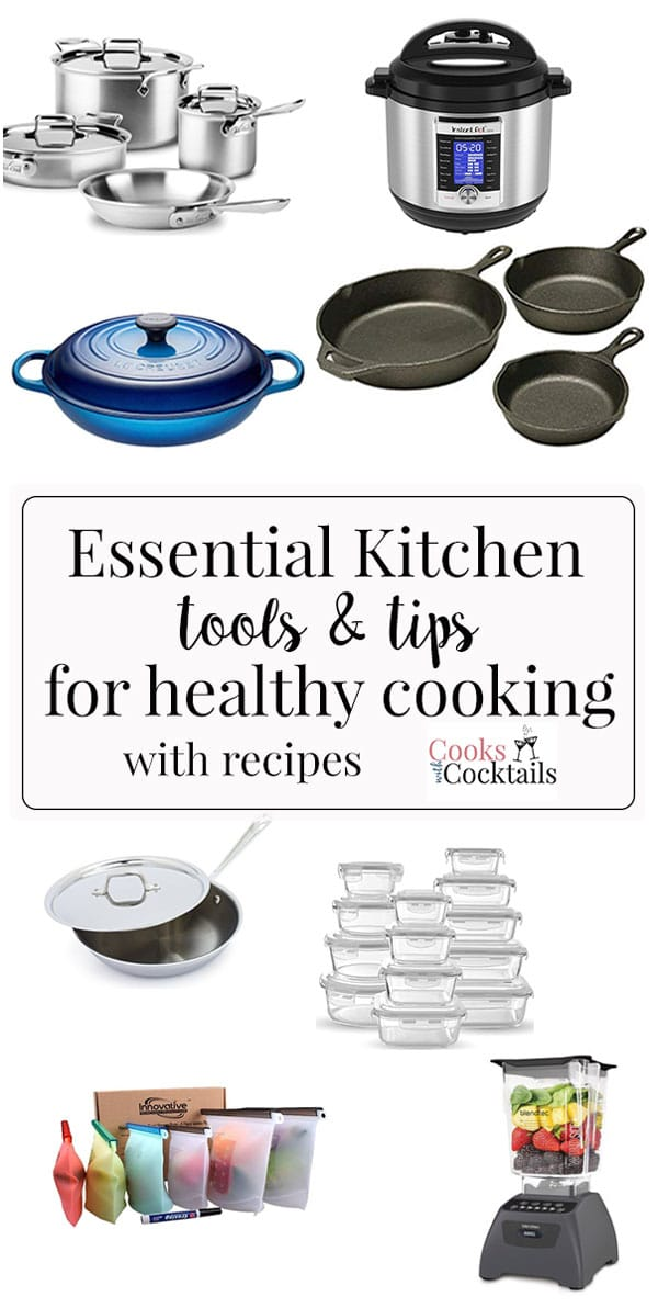Kick your healthy eating plan into high gear with these four essential kitchen tools for healthy cooking.  These are all tools that Debbie and I use constantly to help us keep our healthy eating goals on track! #cookswithcocktails #essentialkitchentools #healthyeating #healthycooking #kitchentools #cookware