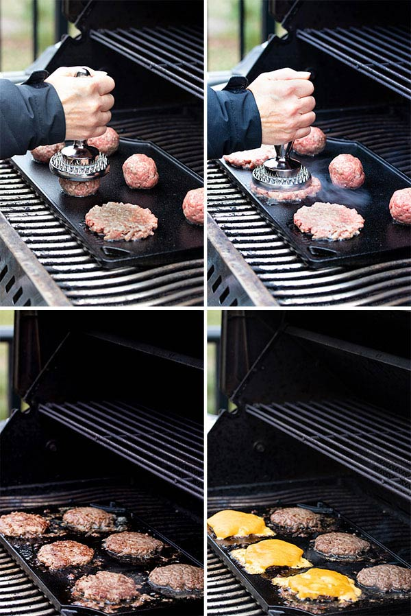 pictures showing us cook the smash burgers on the bbq