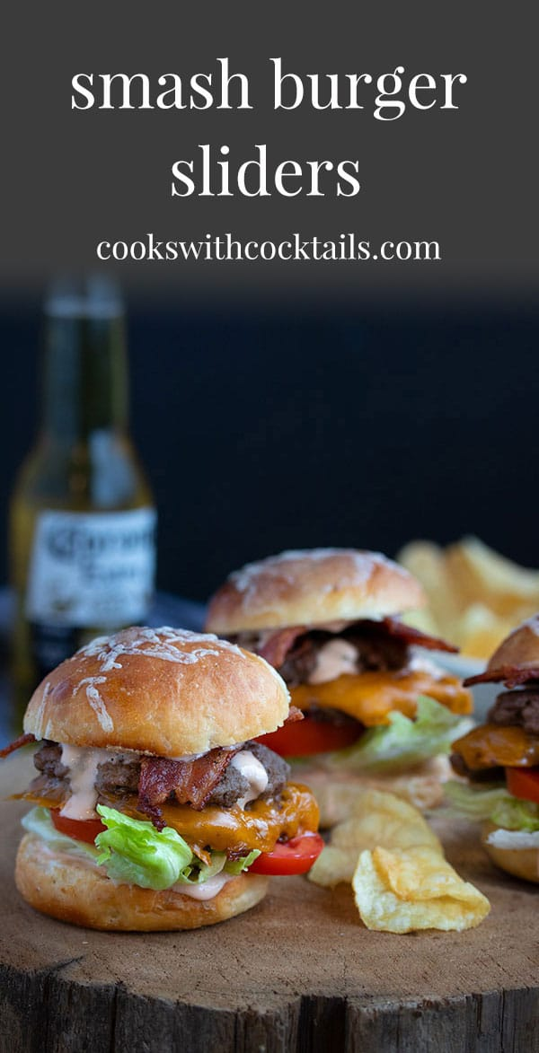 These smash burger sliders are the perfect game night food and probably the quickest and easiest burger recipe you will ever make!  And the best way to make burgers for a crowd!  Mini burgers are the best burgers because that means you can eat more of them! #cookswithcocktails #smashburgers #smashburgersliders #beefsliders #sliderrecipe #burgerrecipe