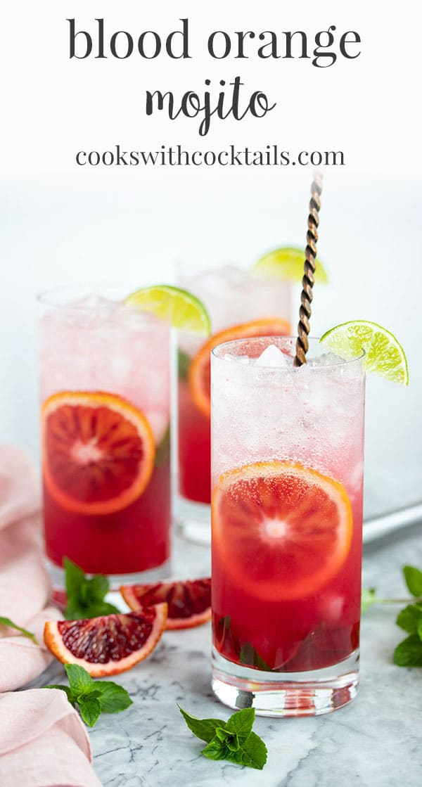This blood orange mojito recipe is a refreshing twist on the classic mojito cocktail.  It's everything you love about a mojito with an extra hint of fresh citrus flavor.  This mojito recipe is perfect for anytime you need a refreshing cocktail but they are also great for a party because we have included a recipe for a pitcher of mojitos! #cookswithcocktails #mojitorecipe #mojitopitcher