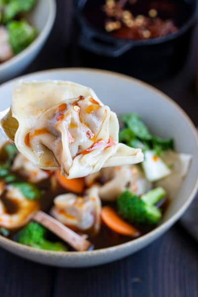 Wor Wonton Soup Recipe with Homemade Wontons & Chili Oil