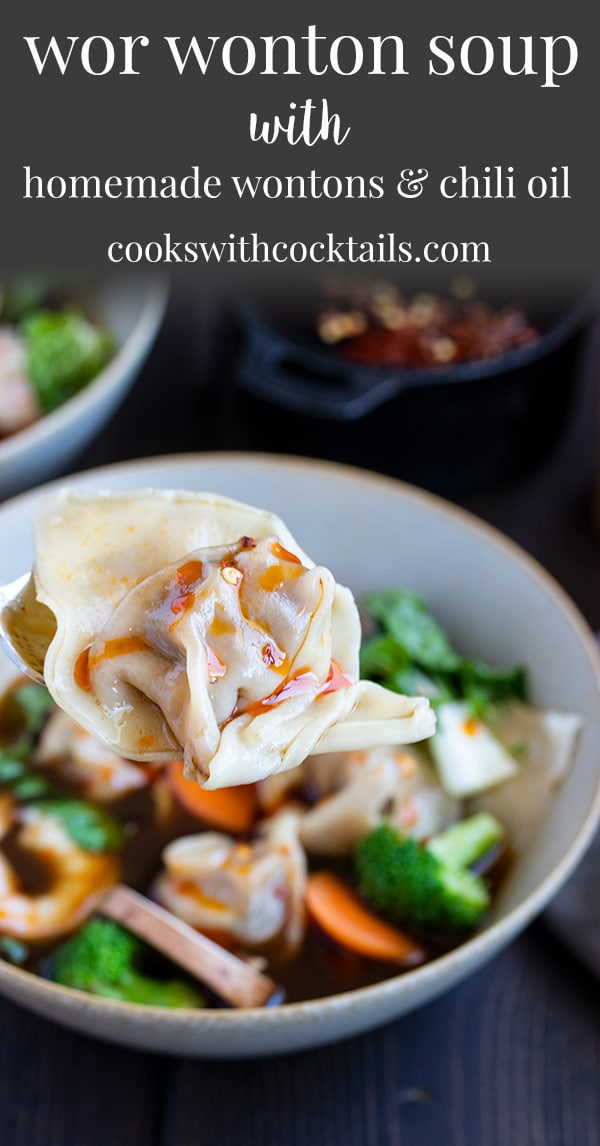 This flavorful and healthy homemade wor wonton soup is packed full of veggies and the tastiest little meat filled homemade wontons!   We love this wonton soup recipe because its a healthy soup thats packed with protein, low-carb, full of vegetables and has the best recipe for wontons! This homemade wonton recipe makes about 30 wontons and the wonton soup recipe makes a big pot of soup! #cookswithcocktails #worwontonsoup #wontonsoup #homemadewontons #wontonrecipe
