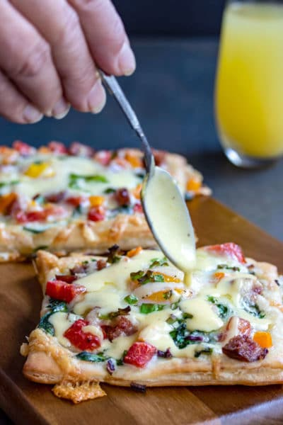 30 Min Breakfast Tarts with Baked Eggs & Hollandaise Sauce