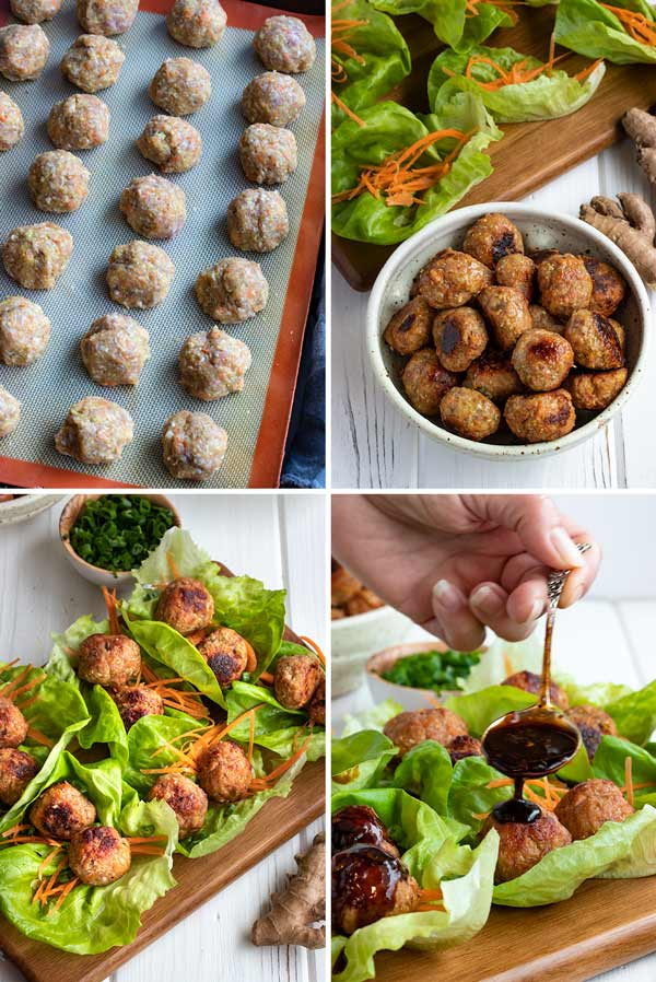 pictures showing the process of how to make asian meatballs in lettuce wraps