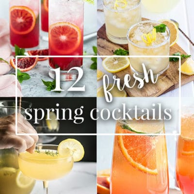 4 spring cocktails in a cocktail collage