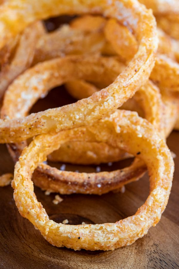 close up of baked onion rings