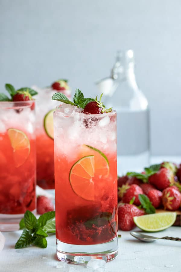 three strawberry mojitos