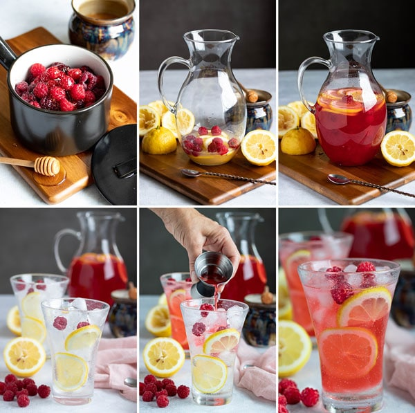 pictures showing the process of making a hard raspberry lemonade cocktail