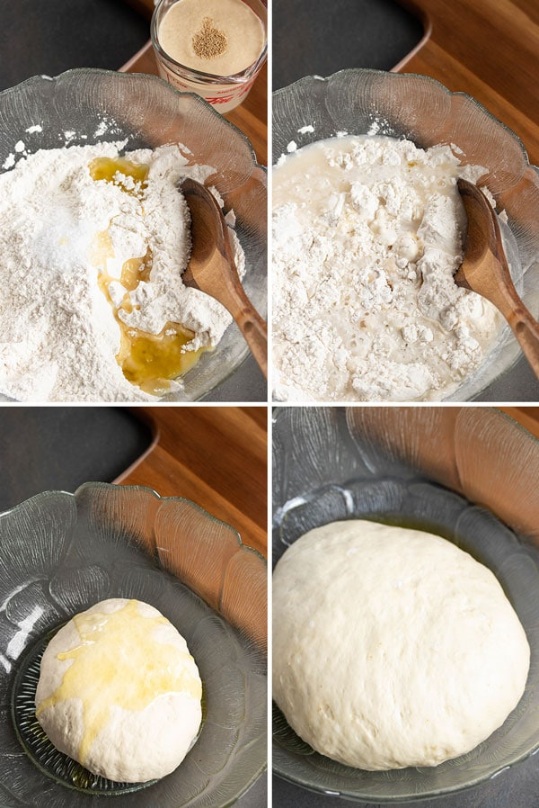 pictures showing steps involved in making homemade pizza dough
